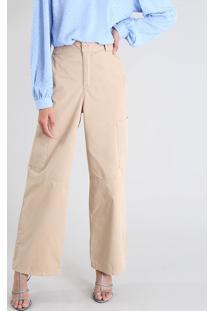 Calça Feminina Mindset Pantalona Cargo Em Sarja Bege