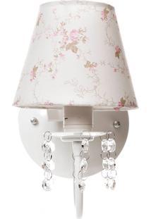 Arandela 1 Lâmpada Cristais Quarto Bebê Infantil Potinho De Mel Rosa