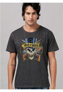 Camiseta Bandup! Guns N Roses Logo Skull Mescla - Masculino-Mescla Escuro