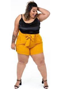 Blusa Plus Size Brio Cetim Feminina - Feminino-Preto