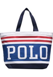 Polo Ralph Lauren Bolsa Tote Com Listras E Logo - Azul