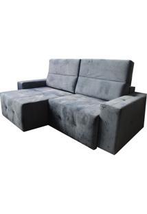 Sofa Retratil Luxor Com 3 Lugares Assento Veludo Azul Base Madeira - 45275 Sun House