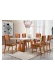 Conjunto De Mesa De Jantar Com 6 Cadeiras Escócia Corino Off White E Caramelo 200 Cm