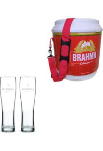 Cooler Térmico Brahma Brasil 20 Litros + 2 Copos De Cerveja Madson Patagonia 500 Ml
