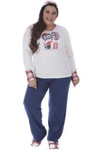 Conjunto Pijama Victory Plus Size Inverno Feminino - Feminino-Azul Escuro