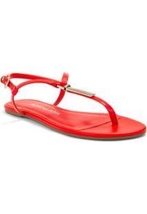 Sandalia Rasteira Enfeite Personalizado Vermelho