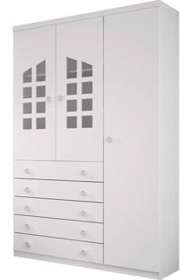 Armário Lolly C/ 3 Portas , 5 Gavetas E Cabideiro, Padrao - Branco / Branco