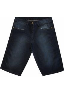 Bermuda Pau A Pique Jeans Escuro
