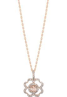 Pingente Em Ouro Rosé 18K Com Diamante, Quartzo Fumê - Rosas