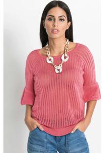 Blusa De Tricô Ponto Trabalhado Rosa