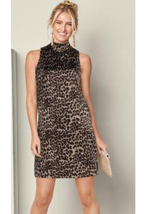 Vestido Gola Alta Animal Print Marrom