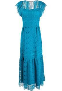 Alberta Ferretti Vestido Longo Com Renda - Azul