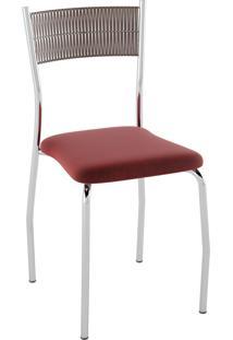 Kit C/ 2 Cadeiras Encosto Tabaco Assento Nobuck Vermelho Pozza