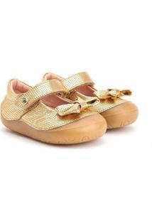 Sapatilha Gambo Em Couro New Steps Bs30111-0006 Feminina - Feminino-Dourado
