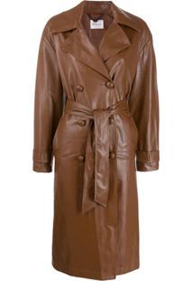 Be Blumarine Trench Coat Com Cinto - Marrom