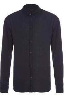 Camisa Masculina Cotton Wrinkled - Preto