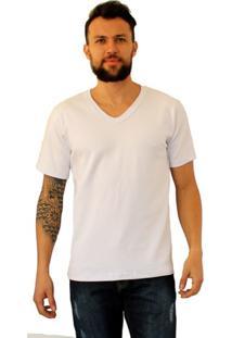 Camiseta Versatti Manga Curta Gola V Fran Branco