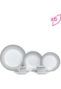 Aparelho De Jantar Super White Geométrico- Cinza & Branclyor