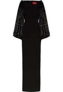 Solace London Vestido Longo Gilda Com Aplicação De Paetês - Preto