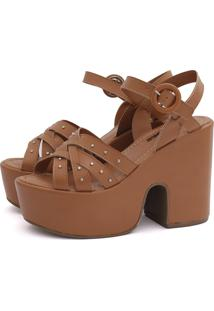 Sandália Isis Its Shoes Ambar De Tachas