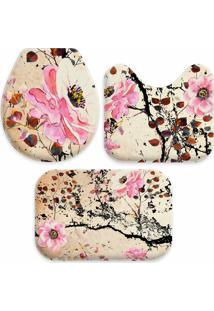 Jogo Tapetes Love Decor Para Banheiro Pintura Flores Rosa Único