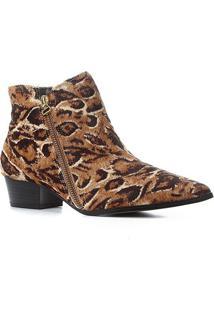 Bota Cano Curto Shoestock Bico Fino Pelo Feminina - Feminino-Caramelo