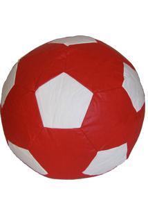 Puff Big Ball Futebol Pop Vermelho E Bra