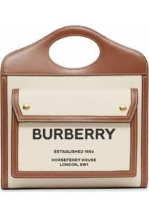 Burberry Bolsa Bicolor Mini - Natural/Malt Brown