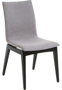 Cadeira Fidalga - Base Preta E Tecido Cinza