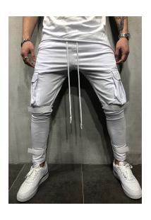 Calça Masculina Swag Bolsos Laterais - Branca