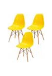 Kit 03 Cadeiras Decorativas Eiffel Charles Eames F03 Amarelo Com Pés De Madeira - Lyam Decor