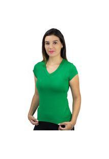 Blusa Básica Feminina Gola V Treluna Verde