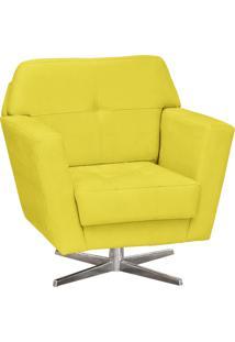 Poltrona Decorativa D'Rossi Esmeralda Suede Amarelo Com Base Giratória Em Aço Cromado