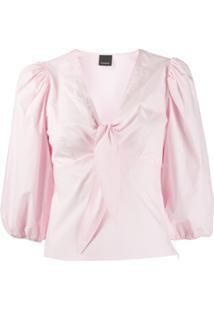 Pinko Blusa Gola V Com Detalhe De Amarração - Rosa