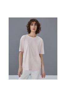 Amaro Feminino T-Shirt Oversized Estonada Gola Redonda, Rosa Claro