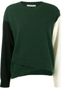Chinti And Parker Suéter Assimétrico Color Block - Verde