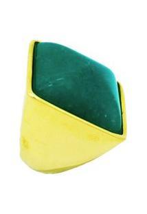Anel Pedra Natural Quadrado Quartzo Verde