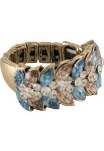 Anel Armazem Rr Bijoux Regulável Cristal Mini Navete Azul Grafite - Kanui