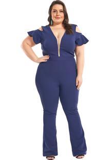 Macacão Plus Size Com Babados Lala Dubi Azul Marinho