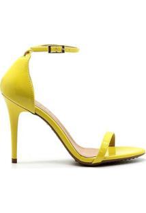 Sandália Royalz Verniz Penélope Bico Redondo Tira Feminina - Feminino-Amarelo
