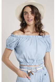 Blusa Jeans Feminina Água De Coco Tal Mãe Tal Filha Cropped Ombro A Ombro Manga Curta Azul Claro
