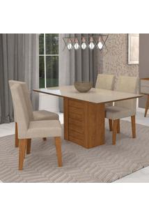 Conjunto De Mesa De Jantar Retangular Rafaela Com 4 Cadeiras Milena Suede Bege E Off White