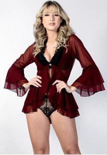 Robe Neglig㪠Curto Yasmin Lingerie Sensuale/Preto - Vinho - Feminino - Dafiti
