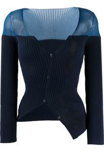 Jacquemus Cardigan Canelado Assimétrico - Azul