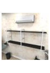 Estante Industrial Escritório Aço Cor Branco 180X30X68Cm (C)X(L)X(A) Cor Mdf Preto Modelo Ind37Pes