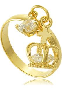 Anel Liso Com Pingente De Coroa Em Zircônia 3Rs Semijoias Dourado