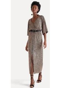 Vestido Paete Fenda Frontal Eva - Feminino