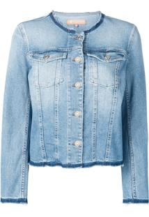 7 For All Mankind Frayed Denim Jacket - Azul