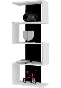 Estante Life 4 Prateleiras 4 Compartimentos Branco/Preto - Multivisão