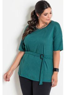 Blusa Com Faixa E Fivela Verde Plus Size